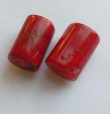 2 cuentas de coral de sucursal de calidad fina, Rojo. 19mm. fabricación de joyas/abalorios