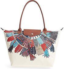 0d7c97502f3c8 NWT Authentic LONGCHAMP Large Le Pliage Collier Massai Tote Bag in Blue Red   265