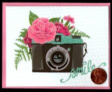 PAPYRUS Adorable Camera Flowers Smile GLITTERED Thank You Greeting Note Card NEW