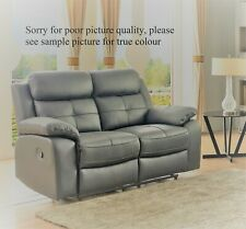 Grey High Grade Leather 2 Seater Reclining Recliner Sofa CHICAGO