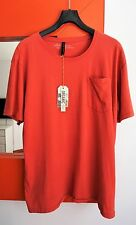 NUDIE JEANS Men's Short Sleeve Round-neck Red Orange Organic Cotton T-Shirt NWT