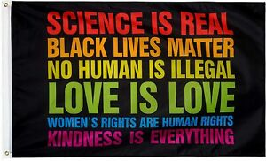 Science is Real Black Lives Matter BLM Love Rainbow 3x5 Feet Banner Flag Human