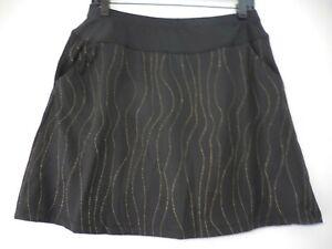 Tail Womens Black Pull On Skort Gold Wavy Design Size Medium EUC