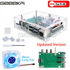New Raspberry Pi 4B set-top box kit Acrylic Case with Cooling Fan Heatsink