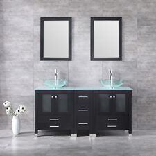 "60"" Double Clear Tempered Glass Bathroom Sink Wood Vanity Cabinet W/Mirror Set"