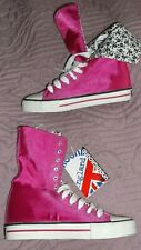 NEW Underground England high tops dark cerise pink satin skull & crossbones 4/37