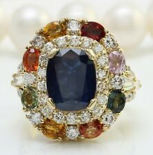 10.90 Ct Natural Blue Sapphire and Diamond in 14K Solid Yellow Gold Women Ring