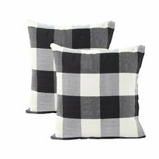 "2Pcs 18""X18"" Black And White Buffalo Check Plaid Throw Pillow Case Cushion C."