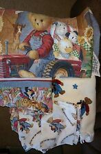 9 PC Lot of Blue Jean Teddy Bear quilts, curtain, sheets, pillow cases, blanket