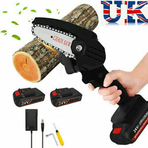 Mini Electric Chainsaw Rechargeable 24V with 2 Batteries Chain Saw READ DISCR