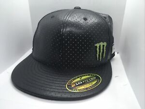 Monster Energy Drink 210 Fitted Flexfit Snapback Hat Pleather 7 1/4 - 7 5/8