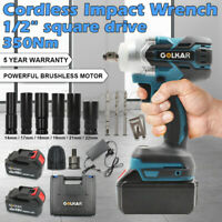 """AU 1/2"""" square drive Cordless Impact Wrench With Lithium-Ion Battery Gun Sockets"""