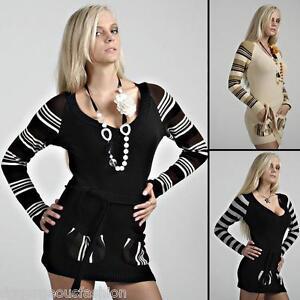 Jumper Long Sweater Tops Ladies Womens V Neck Knitted Tunic Mini Dress 8 10 12