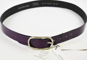 CALVIN KLEIN JEANS Women's 95 CM Purple Shiny Look Metallic Buckle Belt 39224-E