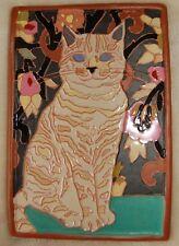 Art Deco Arts and Crafts Cream white CAT tile Cat Lovers