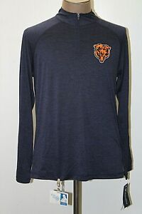 NEW Majestic Chicago Bears Mens Large Navy Blue Long Sleeve Athletic Shirt L NWT