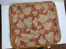 "Ralph Lauren Cotton or Linen Leaf Pattern Pillow With Trim. 22"" x 22"". Rust/Tan"