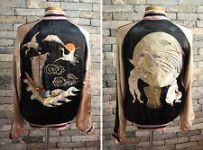 VTG 100% AUTH  SCRIPT PREMIUM Embroidery REVERSIBLE Souvenir Jacket sukajan JP M