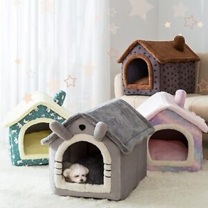 Pet Bed Nest Cave Small Dog Cat House Kennel Warm Winter Pad Cushion Basket Tent