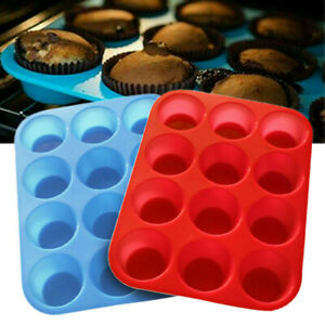 12 Cavity Silicone Muffin Cupcake Cookie Chocolate Pan Baking Mould Mold Tray