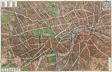 London Historical City Map from about 1910 (Geographia Ltd) Vintage Print Poster