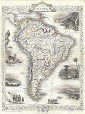 1850 TALLIS MAP SOUTH AMERICA TALLIS 1850 VINTAGE POSTER ART PRINT 2898PY