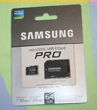 BRAND NEW Samsung 64GB PRO Micro SDXC w/ Adapter 70 MB/s - UHS-1 Class10 Memory