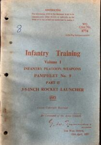 British - Manual for 3.5 inch Rocket Launcher - 1953