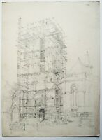 Hubert Williams (1905-1989) drawing. scaffolding. Church. Initialed lower right.
