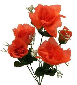 5 Coral Orange Faux Artificial Roses Bush Bouquet Silk Wedding Flowers Fake