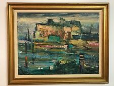 Listed California Artist Clifford Silsby Abstract Mid Century Oil on Canvas