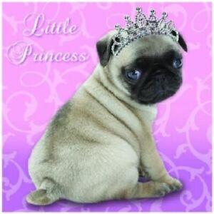 Little Princess Pug Dog glitter tiara Have a magical birthday! square pink card