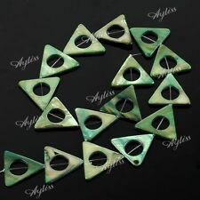 16pcs Green Yellow 25mm Triangle Round Hole Mop Mother Of Pearl Shell Loose Bead