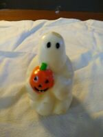 "Vtg 3.5"" Halloween Ghost with Pumpkin Candle, No Label"