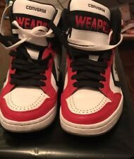 7 Men's [Converse] CONS Weapon Mid Black Red White High Top Shoes Sneakers