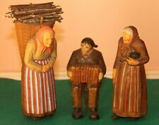 Three Hand-Carved Wooden Black Forest or Tyrolean Figures. 4 to 6 Inches Tall