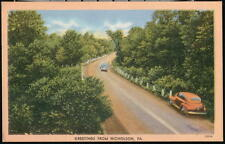 NICHOLSON PA Vintage Linen Greeting Postcard Old Cars Country Road Early PC