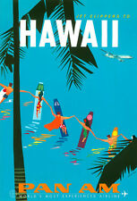 """Vintage Illustrated Travel Poster CANVAS PRINT Hawaii Pan Am 24""""X16"""""""
