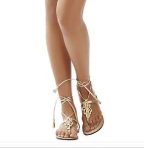 lilly pulitzer PIER gold flat sandals size 9.5 NIB