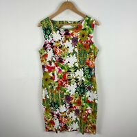 Teaberry Womens Dress 12 Multicoloured Floral Sleeveless Round Neck Zip Closure