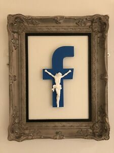 """Imbue """"New Religion 2.0"""" White/Blue FRAMED Limited Sculpture. Banksy Of Brighton"""