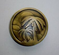 Tropical Island Palm Trees Belt Buckle-New Condition-Vintage Indiana Metal Craft