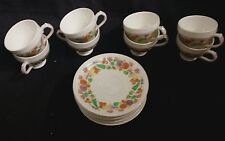SET 7 GEORGE JONES AND SONS ENGLAND AUTUMN TINTS DEMITASSE TEA CUPS AND SAUCERS