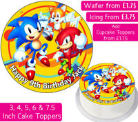 SONIC THE HEDGEHOG EDIBLE WAFER & ICING PERSONALISED CAKE TOPPERS BIRTHDAY PARTY