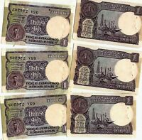 Lot 5 PCS Bundle 1980-90 Old Vintage India 1 Rupee Serial Banknotes Rare UNC Set