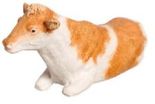 Dollhouse Miniature Brown and White Cow Laying Down -- 1:24 Scale