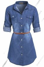 Womens Plus Size 16 - 24 Longline Denim Shirt Dress Ladies Jean Dresses 18 20 22