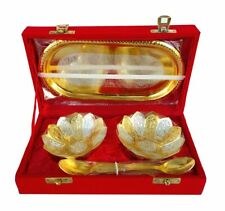 Bowl Silver and Gold Plated and Tray Set Diwali, Christmas Dry Fruit Bowl Set