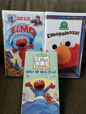 New listing 3 SESAME STREET VHS Tapes Lot Elmo in Grouchland~Elmopalooza~ Elmo World Wake up