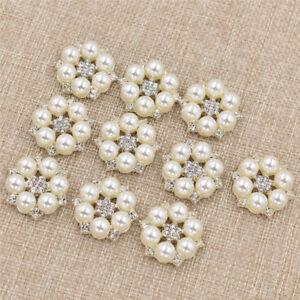 10pcs Pearl Flower Rhinestone Buttons Sewing Handbags Scrapbooking Craft DIY